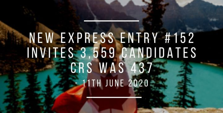 Express Entry Draw #152: Lowest CRS for CEC candidates- 11th June 2020